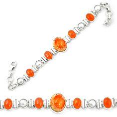 Natural multi color mexican fire opal pearl 925 silver tennis bracelet d26169