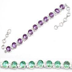 Purple alexandrite (lab) 925 sterling silver tennis bracelet jewelry d5615