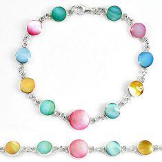 Multi color blister pearl enamel 925 sterling silver tennis bracelet d5621
