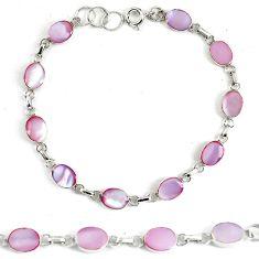 Pink pearl enamel 925 sterling silver tennis bracelet jewelry d5622