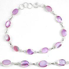 Pink pearl 925 sterling silver tennis bracelet jewelry d5623
