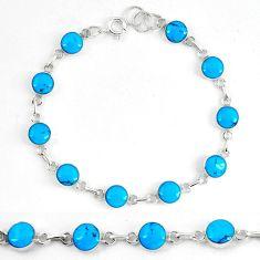 Fine blue turquoise enamel 925 sterling silver tennis bracelet jewelry d5624