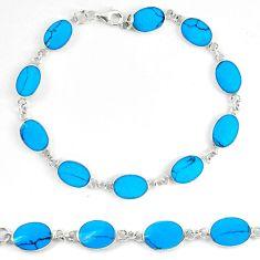 Fine blue turquoise enamel 925 sterling silver tennis bracelet jewelry d5626