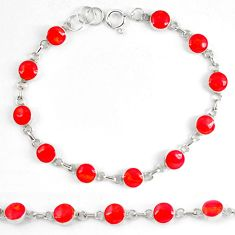 Red coral enamel 925 sterling silver tennis bracelet jewelry d5628