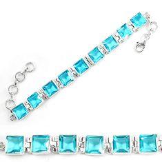 Blue topaz lab 925 sterling silver tennis bracelet jewelry d5632