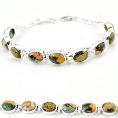 Multi color ocean sea jasper (madagascar) 925 silver tennis bracelet j18103
