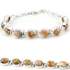 Multi color ocean sea jasper (madagascar) 925 silver tennis bracelet j18105