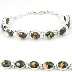 925 sterling silver ocean sea jasper (madagascar) tennis bracelet jewelry j18109