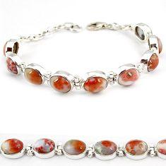 Multi color ocean sea jasper (madagascar) 925 silver tennis bracelet j21733