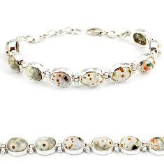 Natural multi color ocean sea jasper 925 sterling silver tennis bracelet j21734