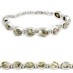 Natural multicolor ocean sea jasper oval shape 925 silver tennis bracelet j21736