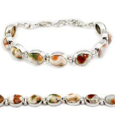 Multi color ocean sea jasper (madagascar) 925 silver tennis bracelet j21737