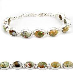 Multi color ocean sea jasper (madagascar) 925 silver tennis bracelet j21739