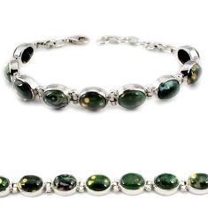 Natural green ocean sea jasper (madagascar) 925 silver tennis bracelet j21740