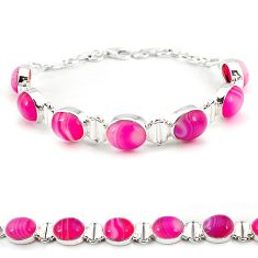 Natural pink botswana agate oval 925 sterling silver bracelet jewelry j22053