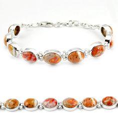 Natural multi color ocean sea jasper (madagascar) 925 silver bracelet j22056