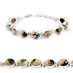 Natural multi color ocean sea jasper (madagascar) silver tennis bracelet j22058