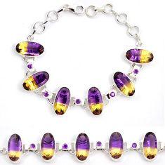 Multi color ametrine (lab) amethyst 925 sterling silver bracelet jewelry j22981