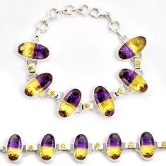 Multi color ametrine (lab) amethyst 925 sterling silver bracelet jewelry j22983