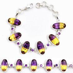 Multi color ametrine (lab) amethyst 925 sterling silver bracelet jewelry j22985