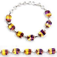 Multi color ametrine (lab) amethyst 925 sterling silver bracelet jewelry j22986