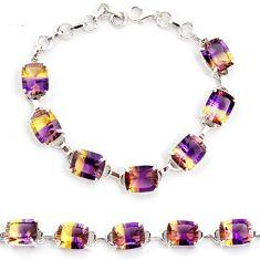 Multi color ametrine (lab) amethyst 925 sterling silver bracelet jewelry j22988