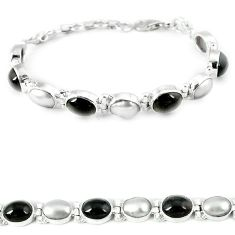 Natural black obsidian eye pearl 925 sterling silver bracelet jewelry j36999