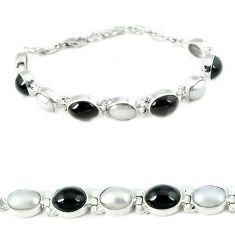 Natural black obsidian eye white pearl 925 sterling silver bracelet j37000