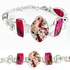 Mexican laguna lace agate marquise 925 sterling silver bracelet jewelry j37001