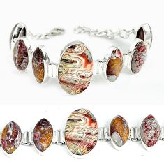 Natural multi color mexican laguna lace agate 925 silver bracelet jewelry j37005