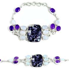 925 sterling silver natural purple chevron amethyst moonstone bracelet j37010