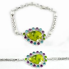 Natural yellow lizardite (meditation stone) 925 sterling silver bracelet j39037