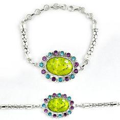 Natural yellow lizardite (meditation stone) 925 silver bracelet jewelry j39038