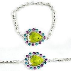925 sterling silver natural yellow lizardite (meditation stone) bracelet j39039