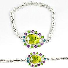 Natural yellow lizardite (meditation stone) 925 silver bracelet jewelry j39040