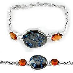 925 sterling silver natural brown boulder opal smoky topaz bracelet j39080