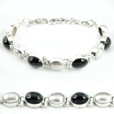 Natural black obsidian eye white pearl 925 sterling silver bracelet j39082