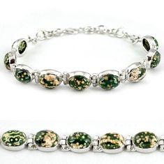 Natural green ocean sea jasper (madagascar) 925 silver bracelet j39083