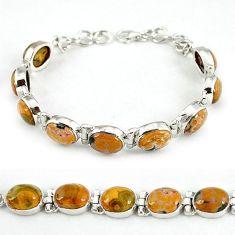 Natural multi color ocean sea jasper (madagascar) 925 silver bracelet j39097