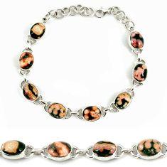 Natural brown fossil coral (agatized) petoskey stone 925 silver bracelet j39162