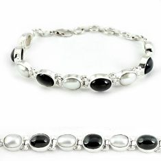 Natural black obsidian eye white pearl 925 sterling silver bracelet j39168