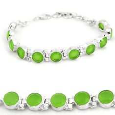 Natural green prehnite round 925 sterling silver bracelet jewelry j42946