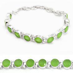925 sterling silver natural green prehnite round bracelet jewelry j42947