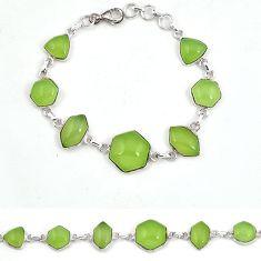 Natural green prehnite fancy 925 sterling silver bracelet jewelry j42959