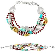 Natural lemon topaz turquoise 925 sterling silver bracelet jewelry j44089