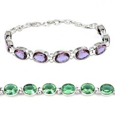 Purple alexandrite (lab) 925 sterling silver tennis bracelet jewelry j46409
