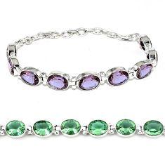 Purple alexandrite (lab) 925 sterling silver tennis bracelet jewelry j46411