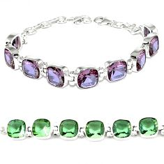 Purple alexandrite (lab) 925 sterling silver tennis bracelet jewelry j46413