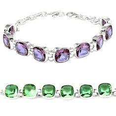 Purple alexandrite (lab) 925 sterling silver tennis bracelet jewelry j46414