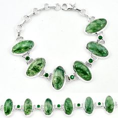 Natural green moss agate chalcedony 925 sterling silver tennis bracelet j52302